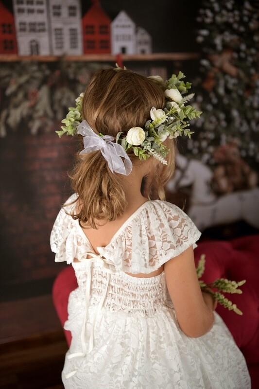 Delilah Girls White Christmas Lace Dress