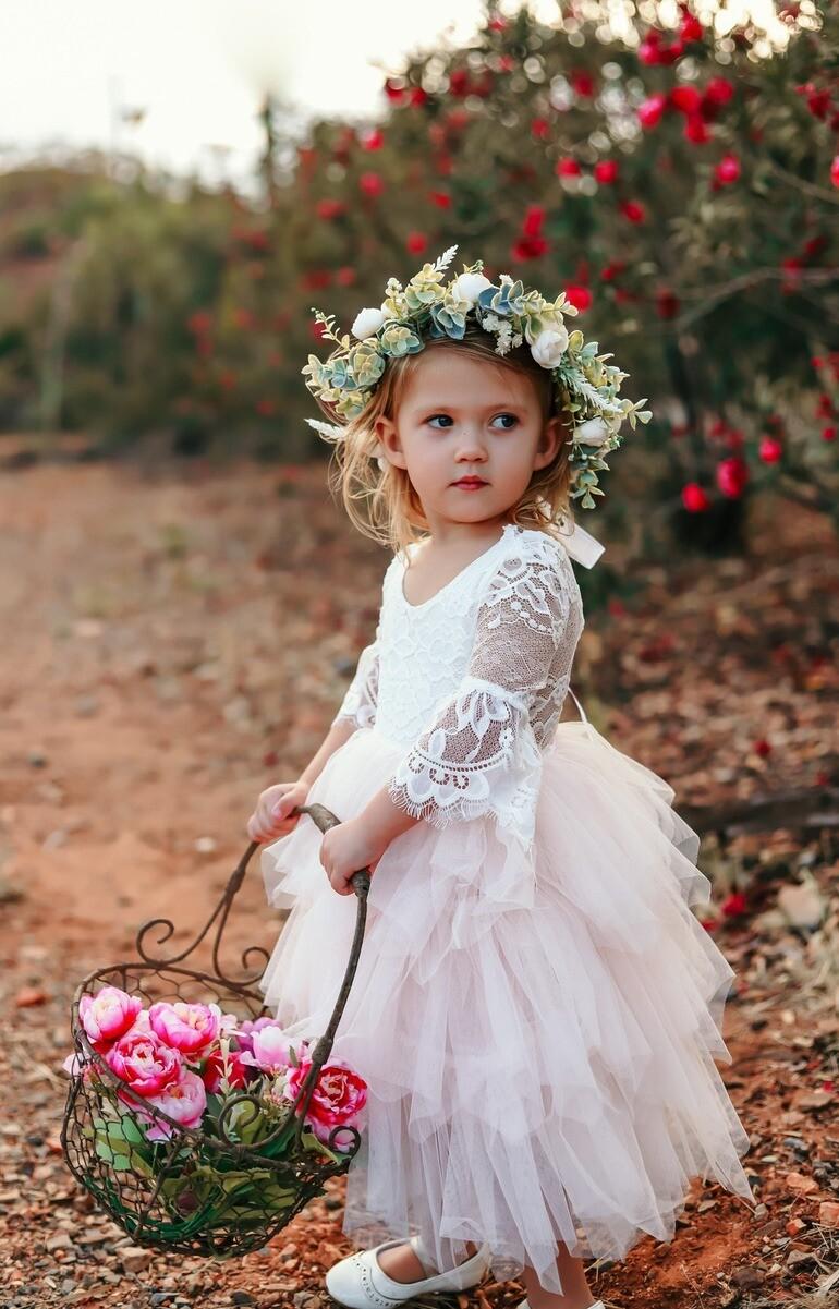Aurora Grace Dress   With Sleeves   White & Peach