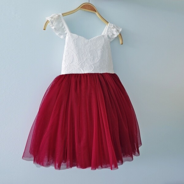 Zara Girls Lace Christmas Dress | Red