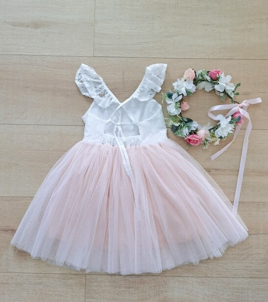Zara Girls Lace Dress | White & Peach