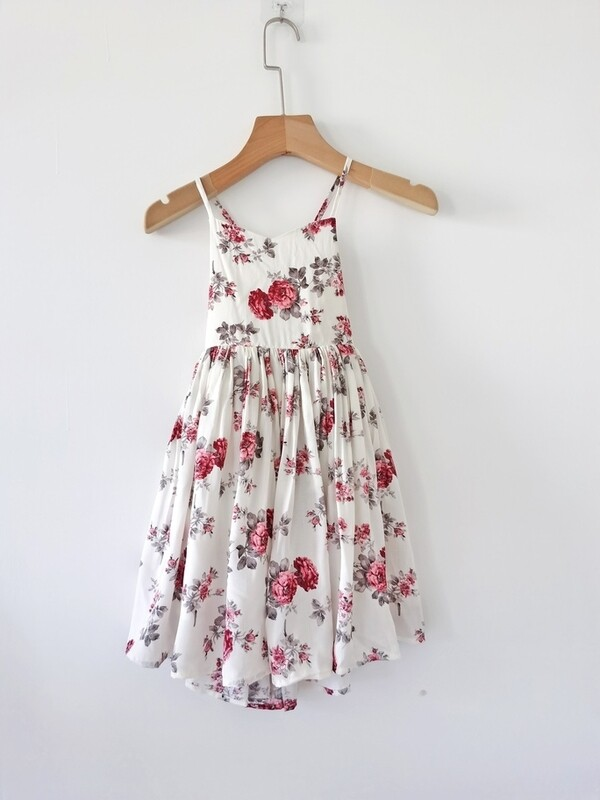 Elodie White Floral Girls Dress