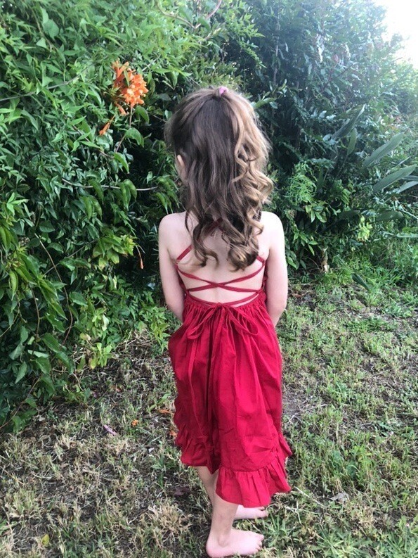 Elsie Girls Dress | Ruby Red