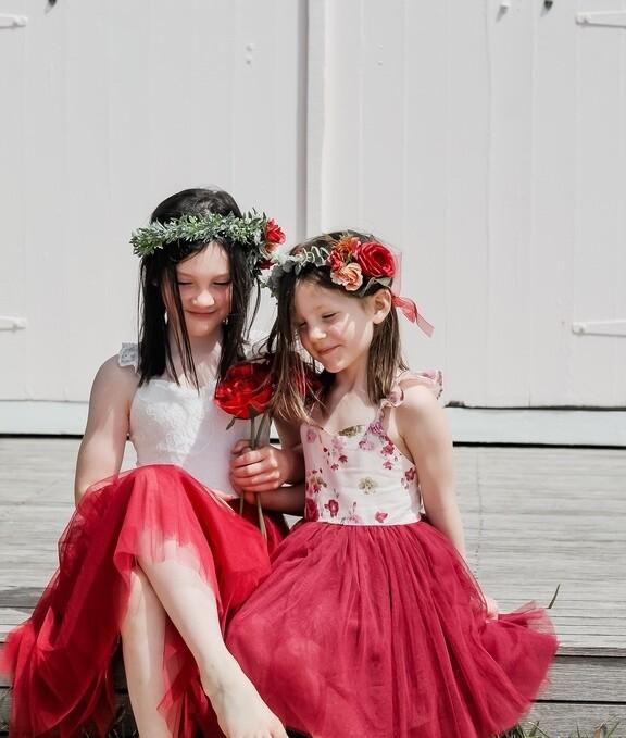 Zara Girls Floral Christmas Dress | Wine