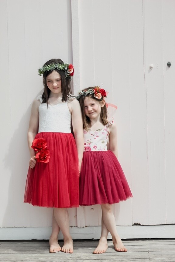 Zara Girls Floral Christmas Dress | Red Wine
