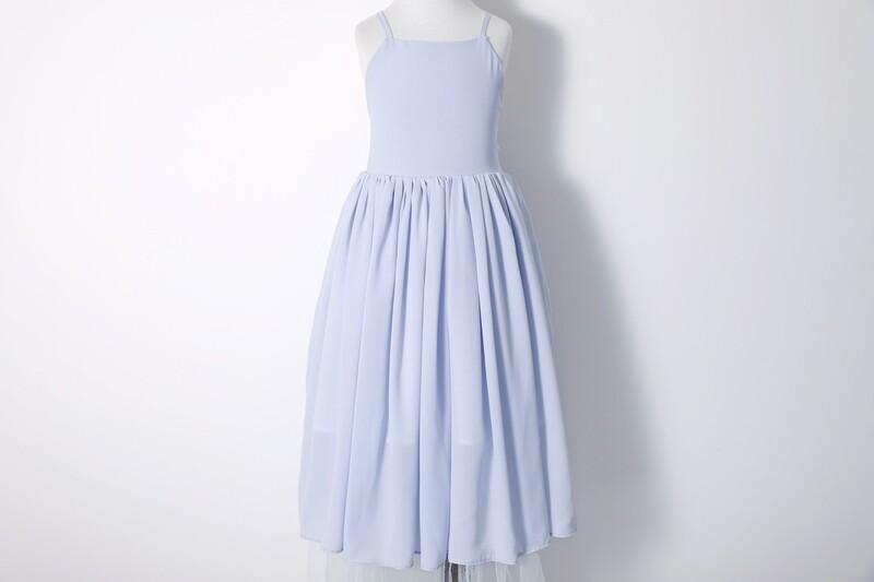 Sofia French Chiffon Dress | Dusty Blue/Grey