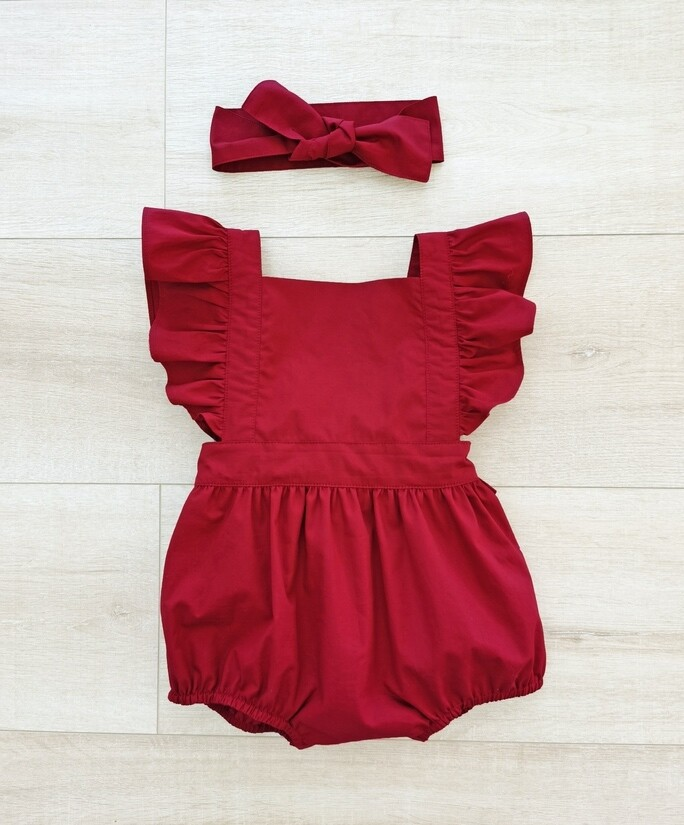 Faith Girls Christmas Romper | Ruby Red | PREORDER