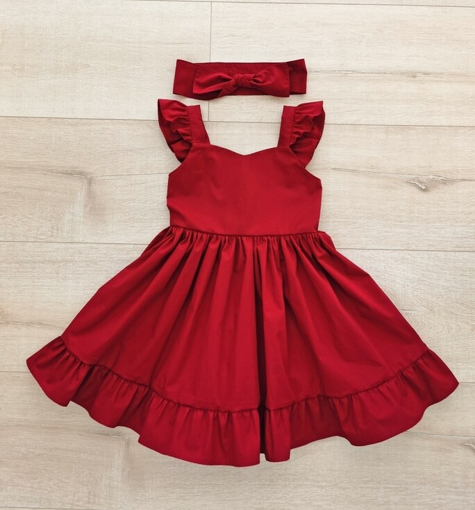 Faith Girls Christmas Dress | Ruby Red with Headwrap