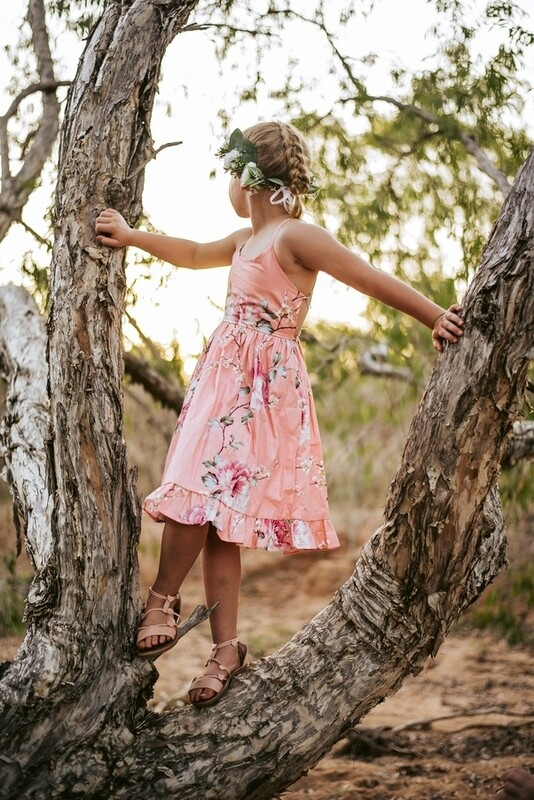 Elsie Girls Dress | Coral Blossom