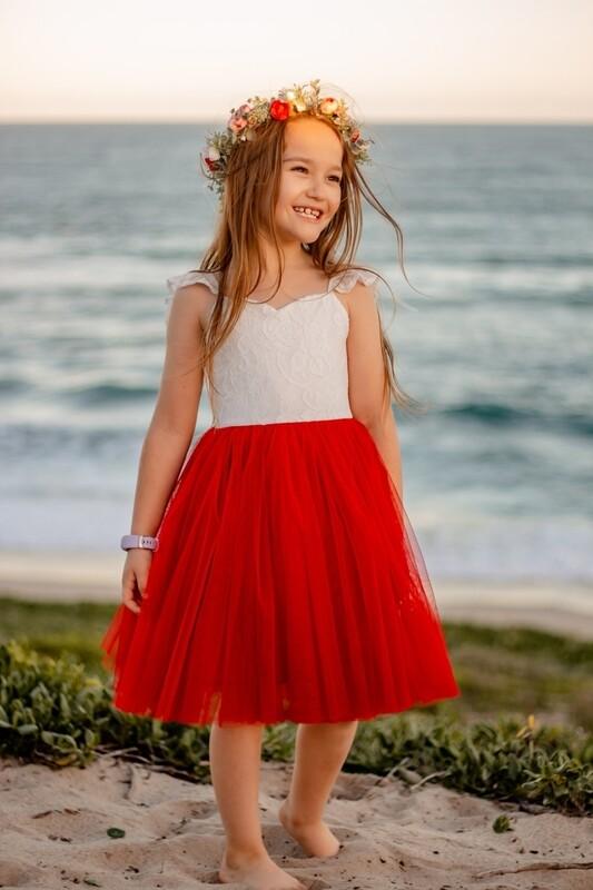 Zara Girls Red Lace Dress