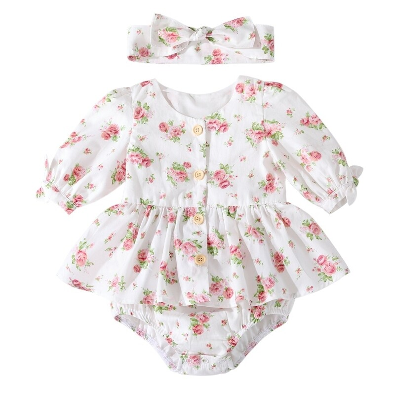 Macie Baby Girls Romper | White Rose