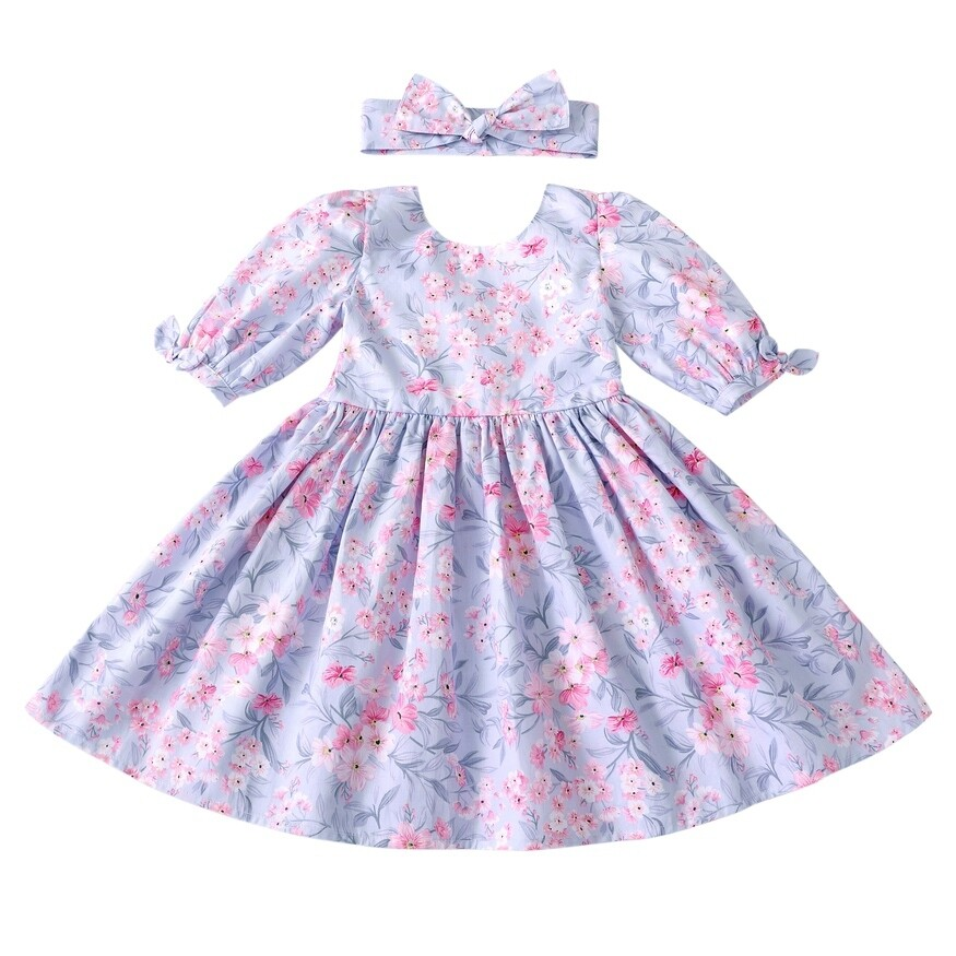 Macie Girls Dress | Dusty Blue
