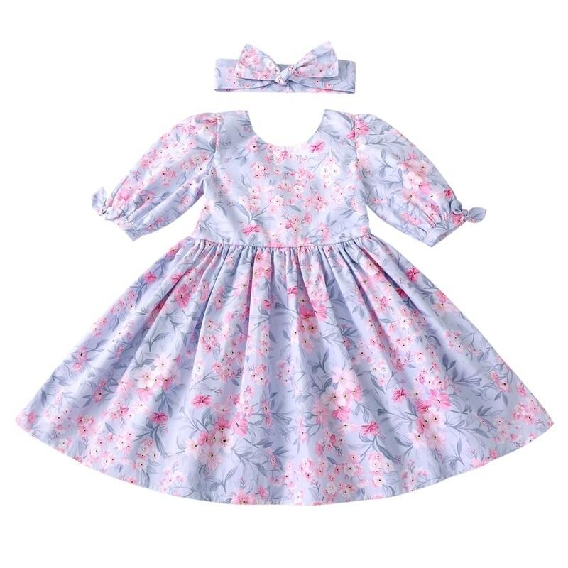 Macie Girls Dress | Dusty Blue