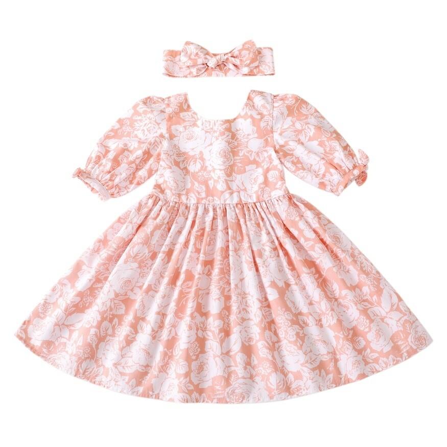 Macie Girls Dress   Coral