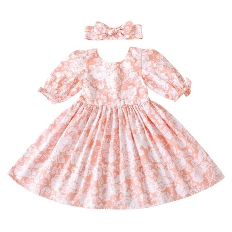 Macie Girls Dress | Coral