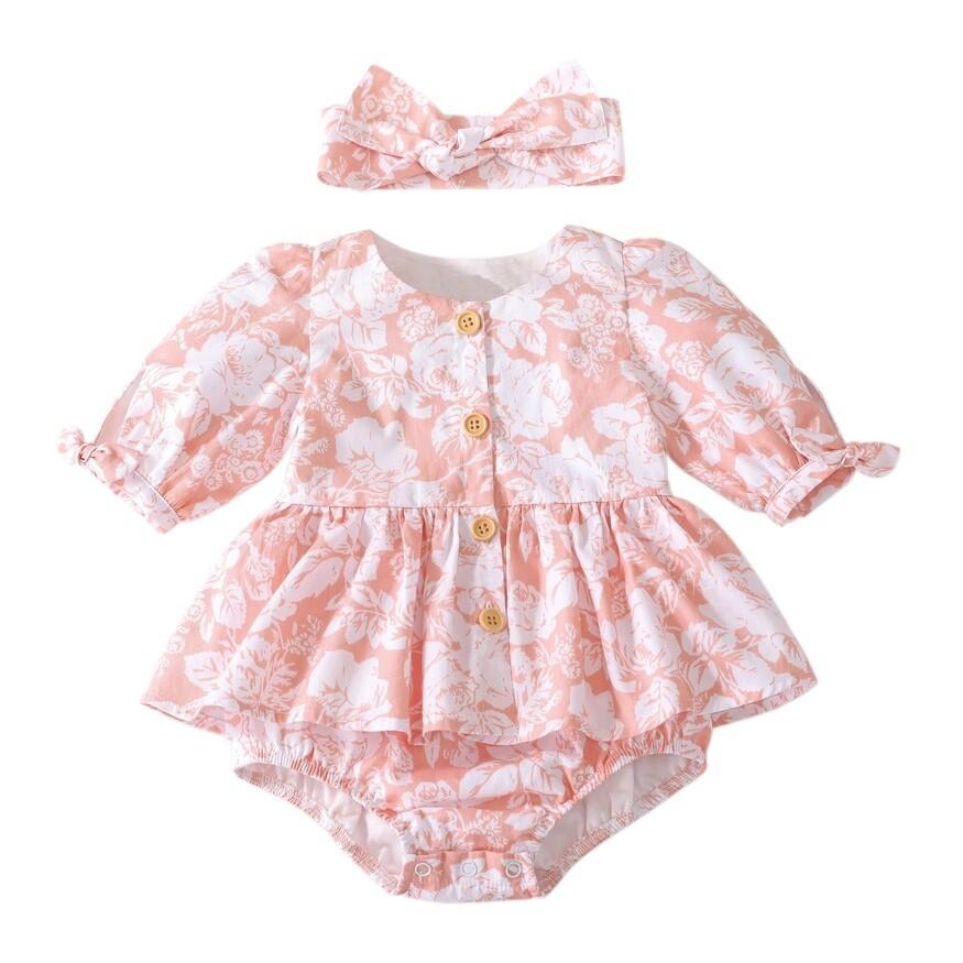 Macie Baby Girls Romper | Coral