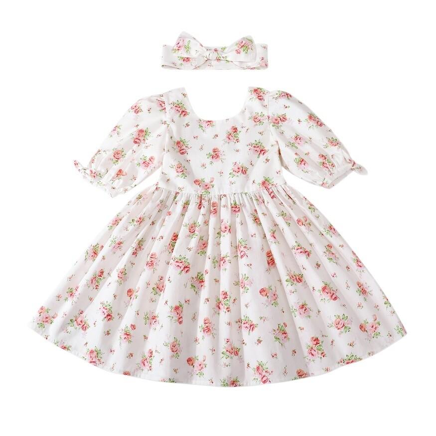 Macie Girls Dress | White Rose