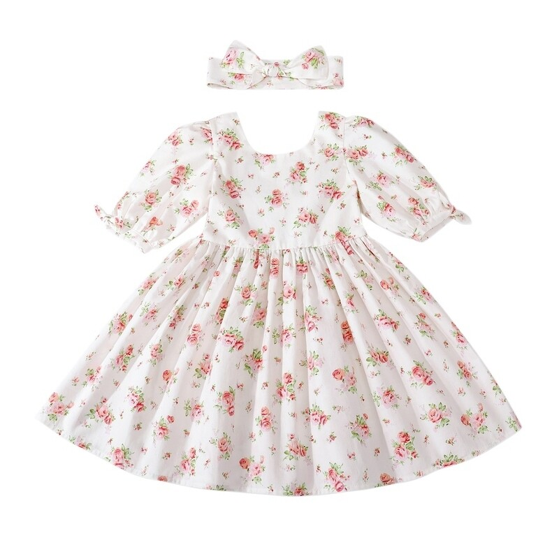 Macie Girls Dress | White Rose