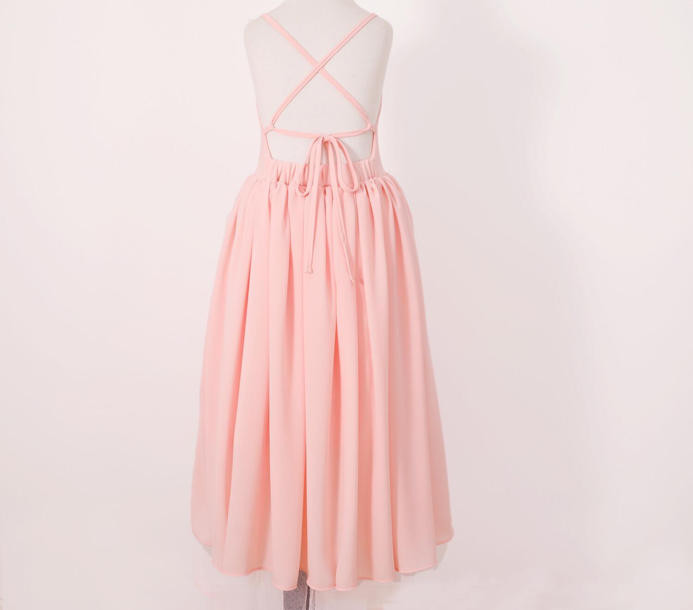 Sofia French Chiffon Dress - Peach