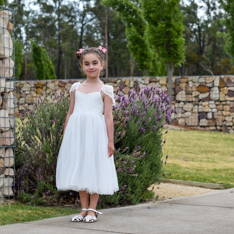 Angelika Girls Dress | White