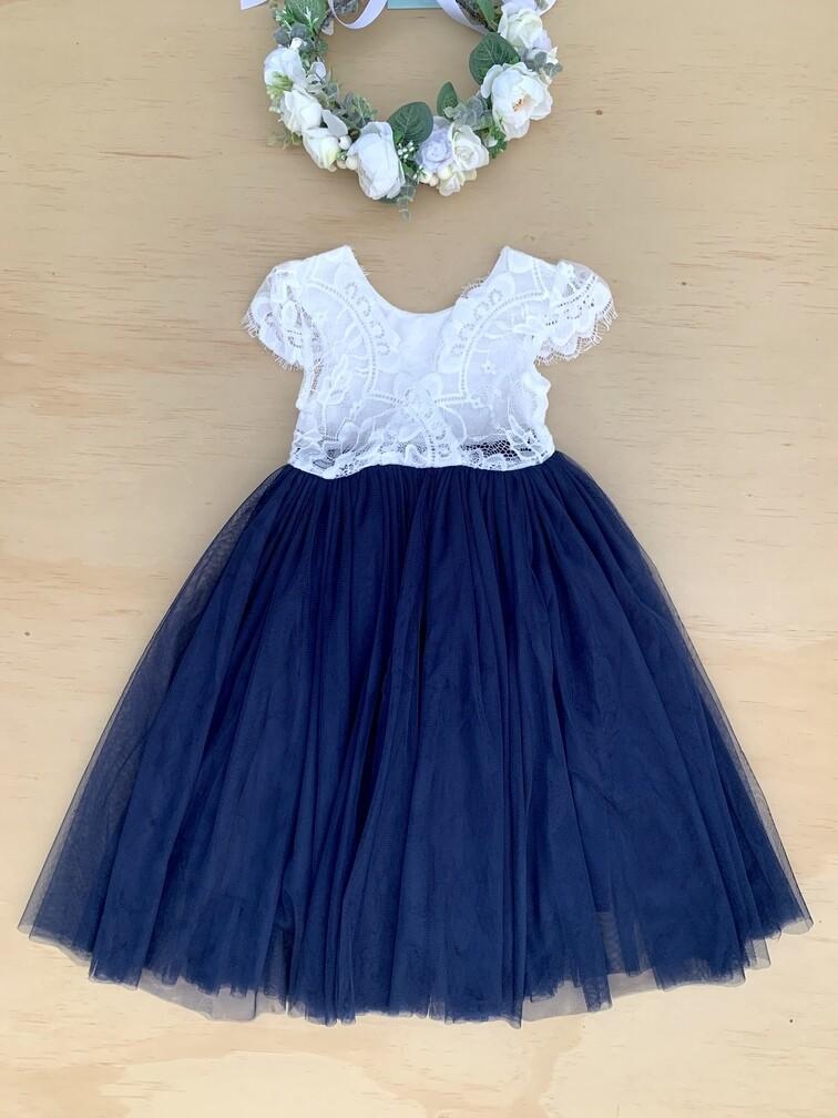 Celeste Dress | White & Navy Blue