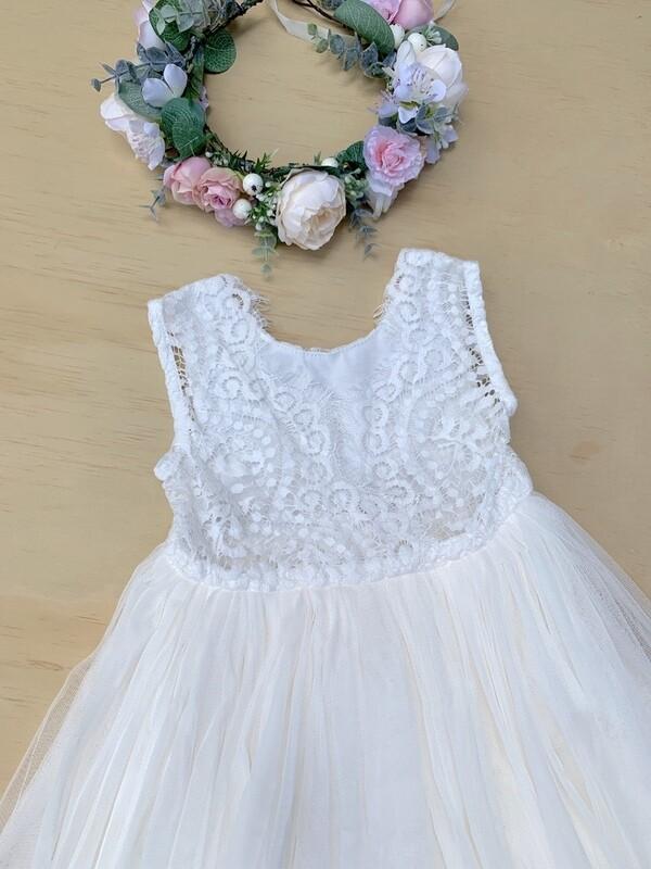 Juliette Dress  V Back Sleeveless | Cream