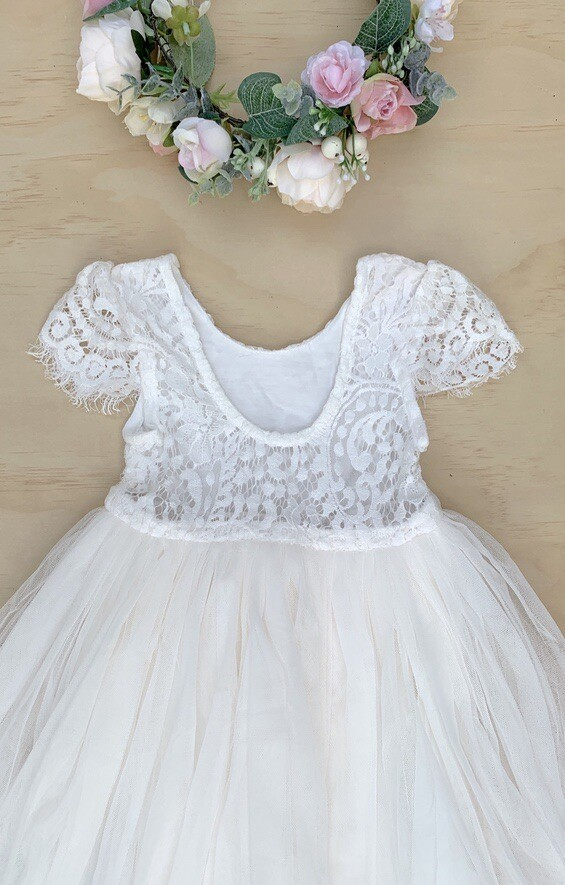Juliette Dress Cap Sleeves | Cream