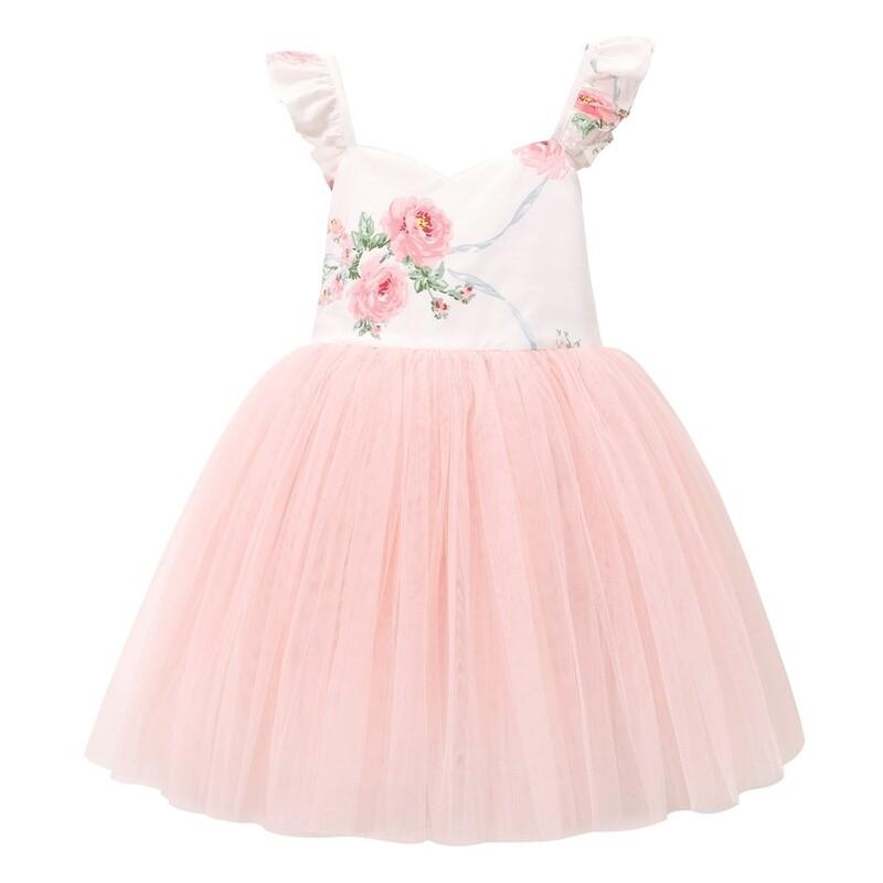 Zara Girls Lace Dress | Peach Floral