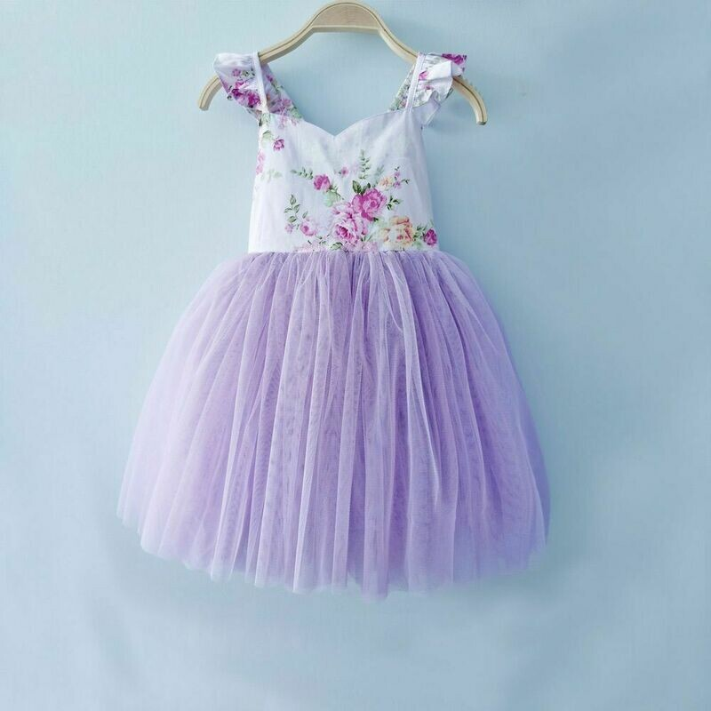 Zara Girls Lace Dress | Purple Floral