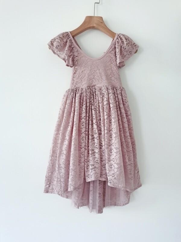 Delilah Girls Dusty Pink Lace Dress