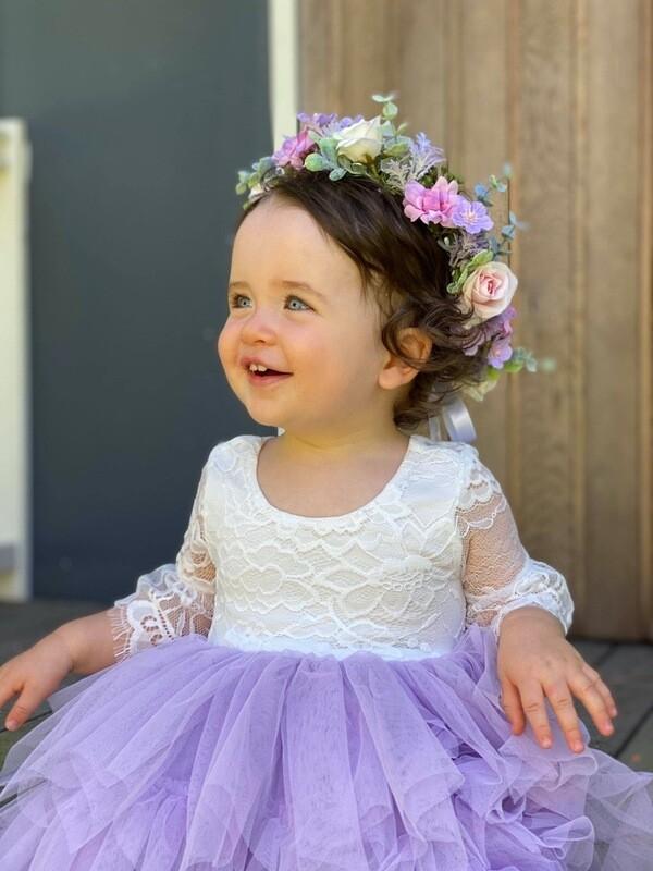Aurora Grace Boho Lace Dress - Lilac