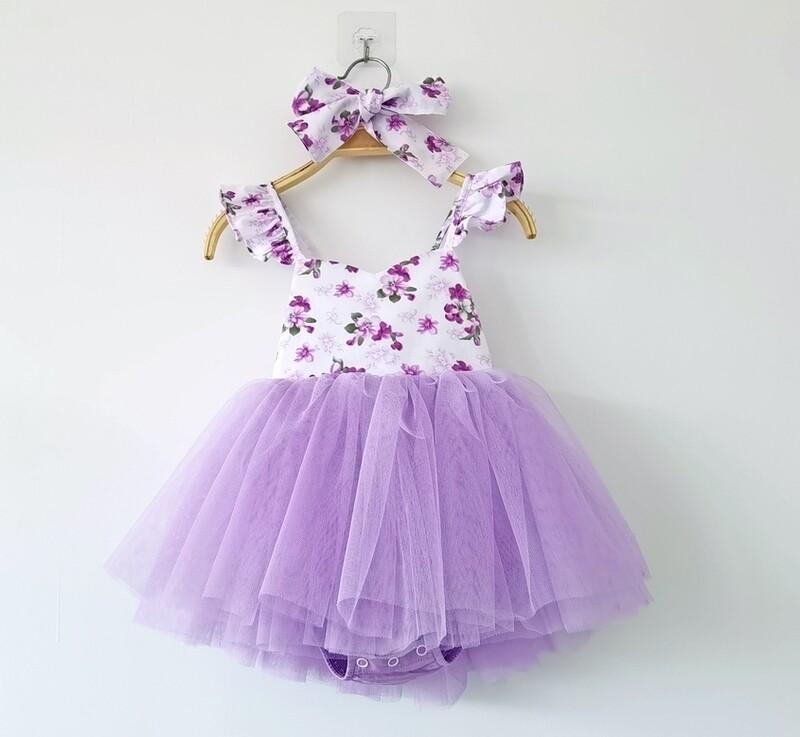 Eloise Purple Floral Baby Tutu Dress