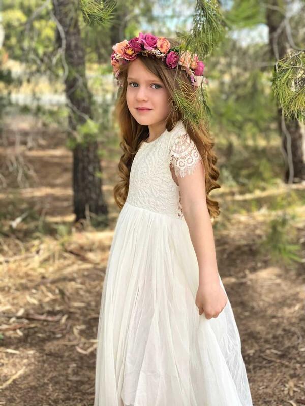 Leilani Girls Ivory Lace Dress