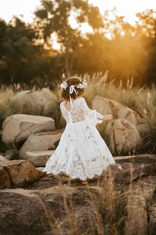 Cleo White Lace Boho Girls Dress