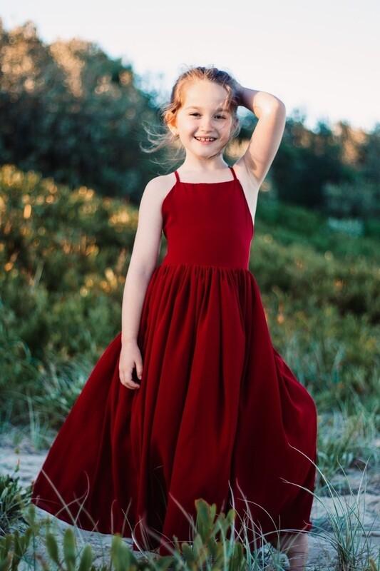 Sofia French Chiffon Burgundy Girls Dress