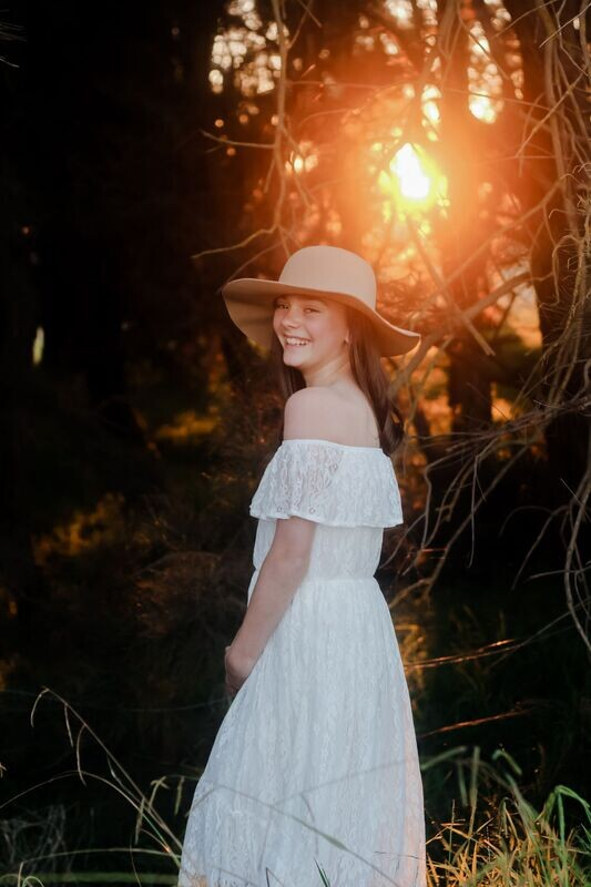 AUBRIE Boho White Flower Girls Dress