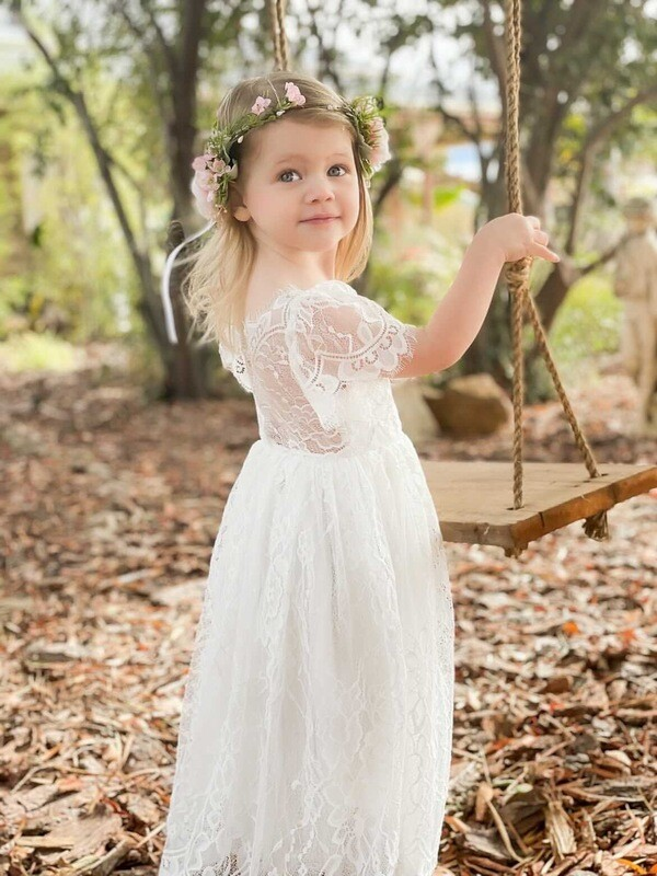 White Whimsy Girls Lace Dress