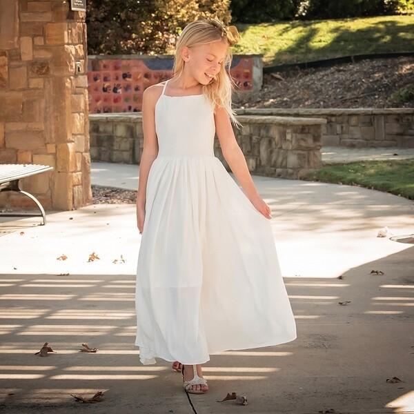 Sofia Girls French Chiffon Ivory Dress