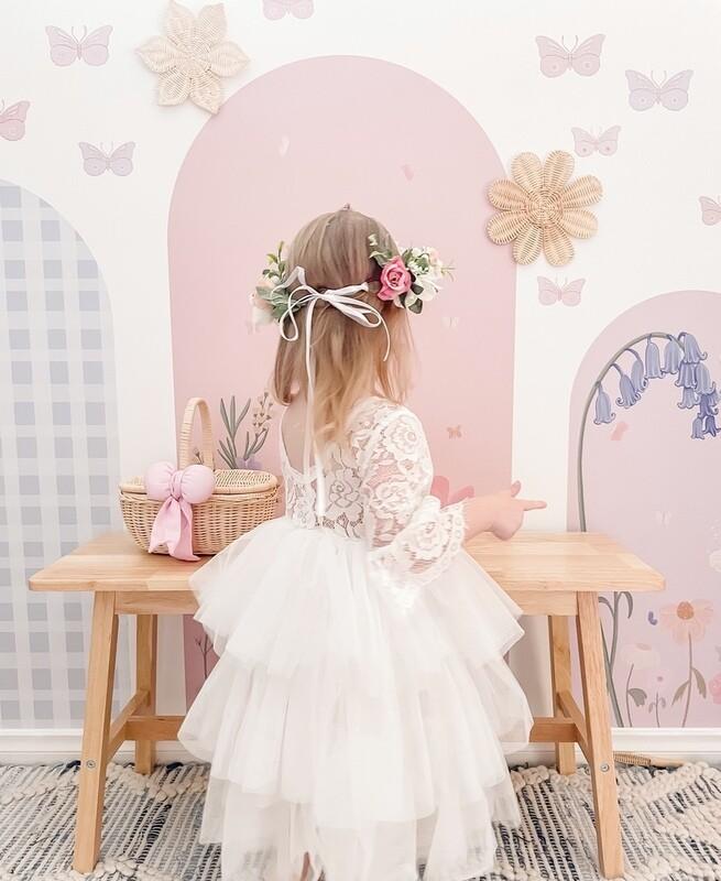 Isla Girls White Lace Tutu Dress