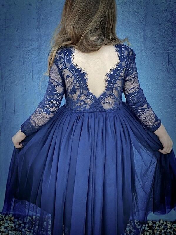 Juliette Long Sleeve Navy Blue Girls Dress