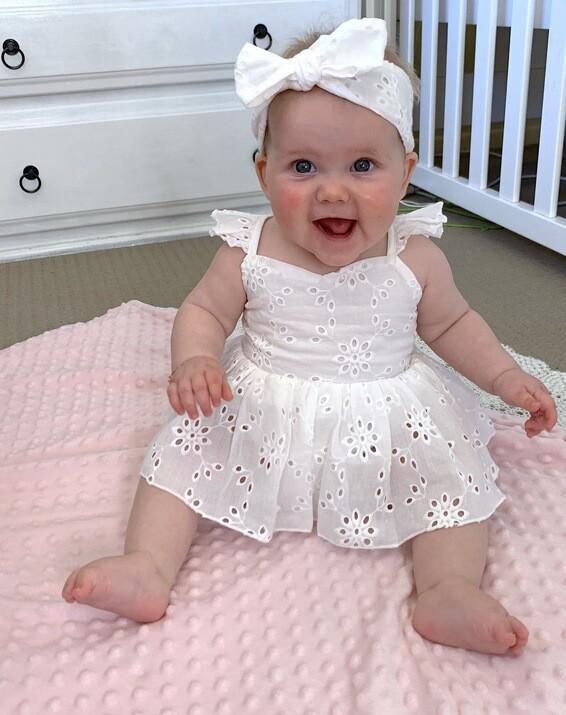 Mya Girls White Broderie Baby Tutu Romper