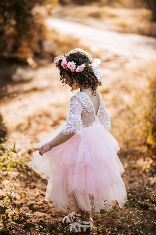 Aurora Grace Girls Boho Powder Pink Dress