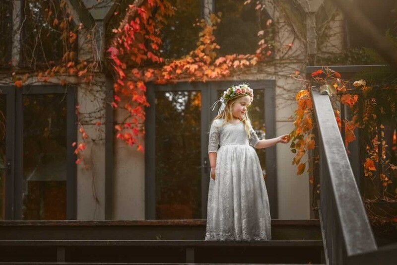 Genevieve Girls Full Length Ivory Lace Dress