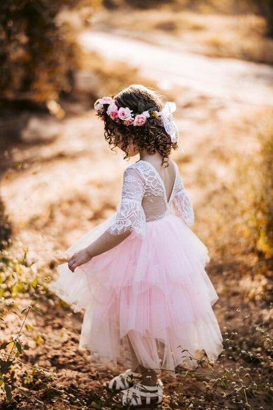 Aurora Grace Girls Boho Pink Tutu Dress