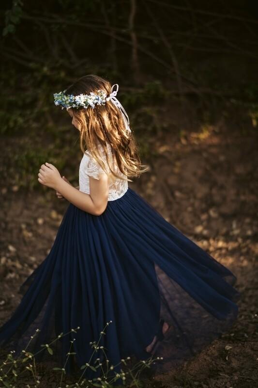 Celeste Navy Blue Girls Dress