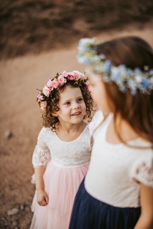 Sadie Girls Pink Flower Crown