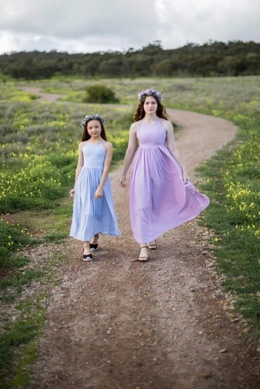 Sofia French Chiffon Lilac Girls Dress