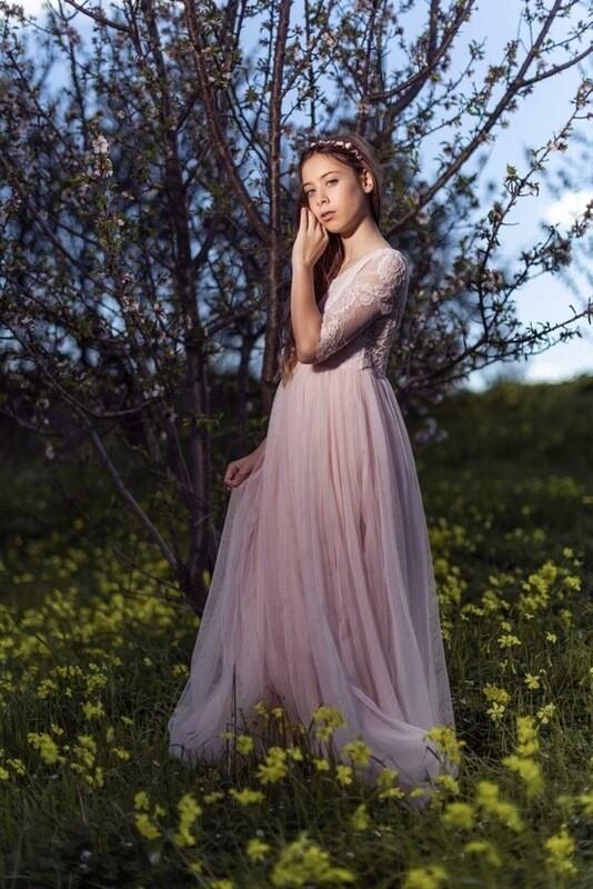 Maia Peach Lace Dress