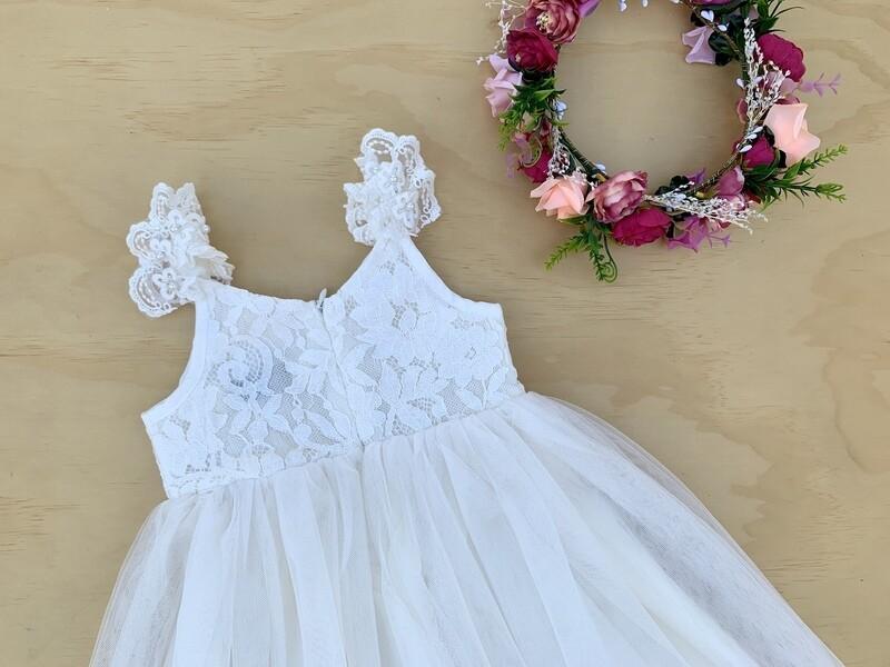 Enchanted Angel Girls Ivory Lace Dress