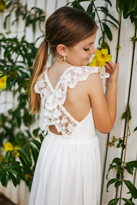 Gabriella French Chiffon White Girls Dress