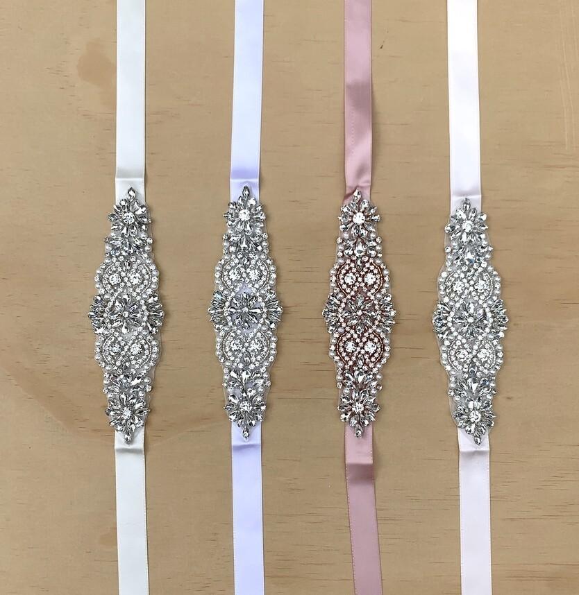 Girls Diamante Sash Belt - Pale Pink